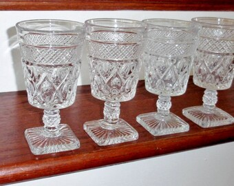 "4 IMPERIAL CAPE COD Glass of Ohio 6 1/4"" High Heavy Clear Crystal Water Tea Goblets Glasses Fancy Stems 1930s Set Four Excellent Condition"