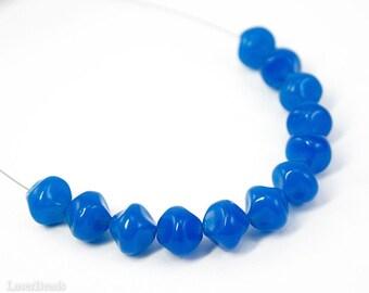 Milky Blue Round Beads 9mm (20) Czech Glass Bright Irregular