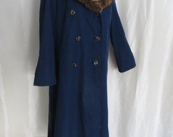 Vintage 80s womens winter coat plus size L XL XXL navy blue raccoon collar double breasted Count Romi Ltd.