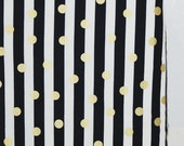 Gold Polka Dot Crib Sheet, Free Shipping, Baby Toddler Bedding, Standard Size, Ready to Ship, Modern Black and White Stripe Metallic Nursery