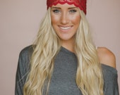Lace Headband, Brick Red, Cute Hair Band, Wide All Lace, Stretchy Tapered Cut, Sheer Lace Headband in Maroon (HB-4001)