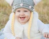 Baby Viking Hat - Girlie Viking Hat with Braids