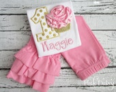 2-pc Set. Shirt, Pants. Pink and Gold 3D Cupcake Personalized Embroidered Birthday Shirt with Ruffle Pants. Polka Dots. Rhinestones.