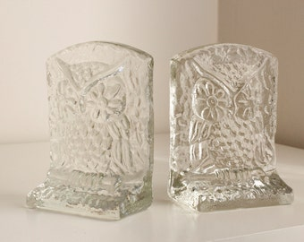 Vintage Glass Owl Bookends, Late Mid-Century