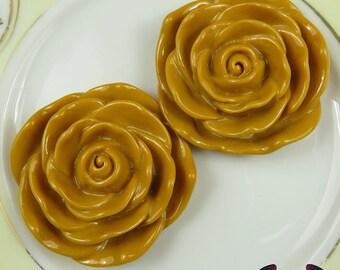 JUMBO ROSE BEADS 48mm Mustard Yellow Chunky Beads Large Rose Beads (2 Pieces)