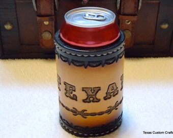 CLEARANCE!   Leather Can Cooler, Beer Hugger, Leather Container for Beverage Can, Custom Can Cooler, Custom Beer Hugger
