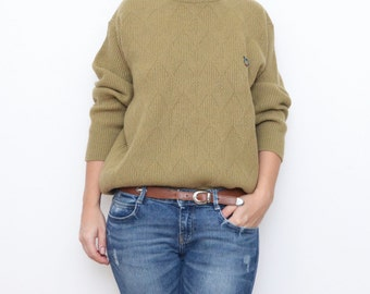 Vintage olive green diamond-shapes preppy women sweater jumper cardigan cable knit small medium military