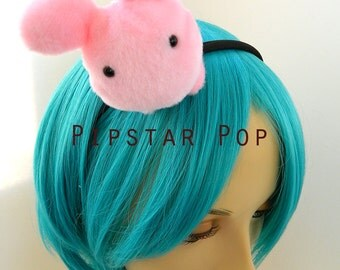 Pink Bunny Rabbit Plushie headband - Harajuku fashion decora deco style for Gothic lolita, cosplay, girls teaparty