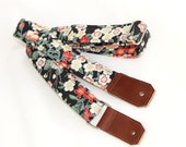 Ukulele Strap in Moonlit Hawaii - White Flowers with Silver and Peach