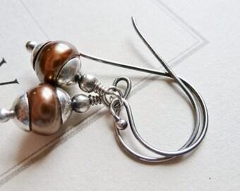 Bronze Brown Freshwater Pearl Earrings / Sterling Silver / Dangle Earrings / SimplyJoli