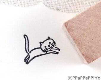 cute run cat Small Rubber Stamp