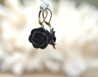 Black Rose Dangle Earrings, Black Flower Earrings.