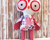Owl Rag Doll Plush - Polka Dot - Ready To Ship
