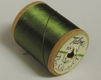 Vintage Talon  Pure Silk Hand Sewing Embroidery Thread 100 Yd. Wooden spool Shade 776 Golden Green Color