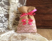 10 natural burlap and pink lace covered favor bags, wedding, bridal shower, baby shower gift bags