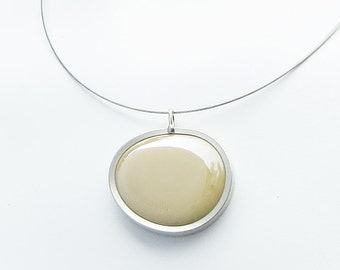 Coffee Latte Pendant,  glass jewelry, Melted glass marble jewelry, pendant necklace 033
