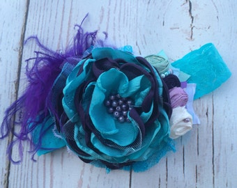 Baby Girl Headband- Baby Headband- Ariel Headband- Little Mermaid Headband- Purple Aqua Headband-Baby Girl Headband