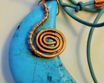 Necklace Handmade Gigantic Crescent Moon in Genuine Dyed Blue Turqouise Stone Wire Wrap Coil Leather Unique Exotic Gypsy boho Unisex
