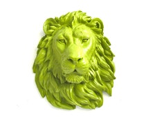 CHARTREUSE Faux Taxidermy Large Lion Animal Head Wall Hanging Wall Decor:  Leonard the Lion in chartreuse // modern / kids room / office