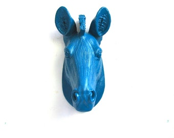 Small Faux Taxidermy Zebra Animal Head Wall Mount Wall Hanging Wall Decor Home Decor  in peacock blue:  Zoobey the Zebra