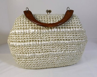White Cellophane Straw Purse with Wooden Handle