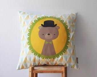 "Geometric Kids Pillow, Decorative Nursery Pillows, Woodland Nursery Pillow, Throw Pillow, Cushion Cover, Yellow Bear 16"""
