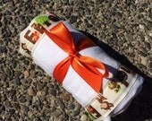 Burp Cloth / Changing Pad: My Pretty Burpy Forest Friends on Cream, Personalization Available