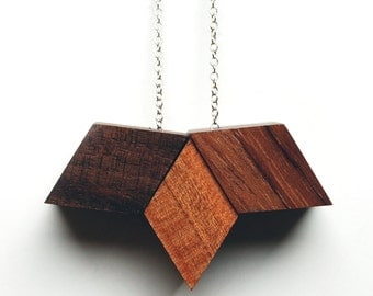 Clippership Necklace - wood geometric necklace