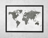 World Map Poster Art Print, Room Decor, Wall Hanging, Travel World Map, Art - Large - Medium