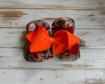 Hair Bow, Girls hair bows, Camouflage Hair bow, Orange hair bow, Hair bows for girls, Big hair bows, Boutique hair bows
