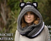 CROCHET PATTERN Cat Scarf, Scoodie, Hooded Scarf with Cat Ears, Halloween Costume Animal Scarf, Instant Download