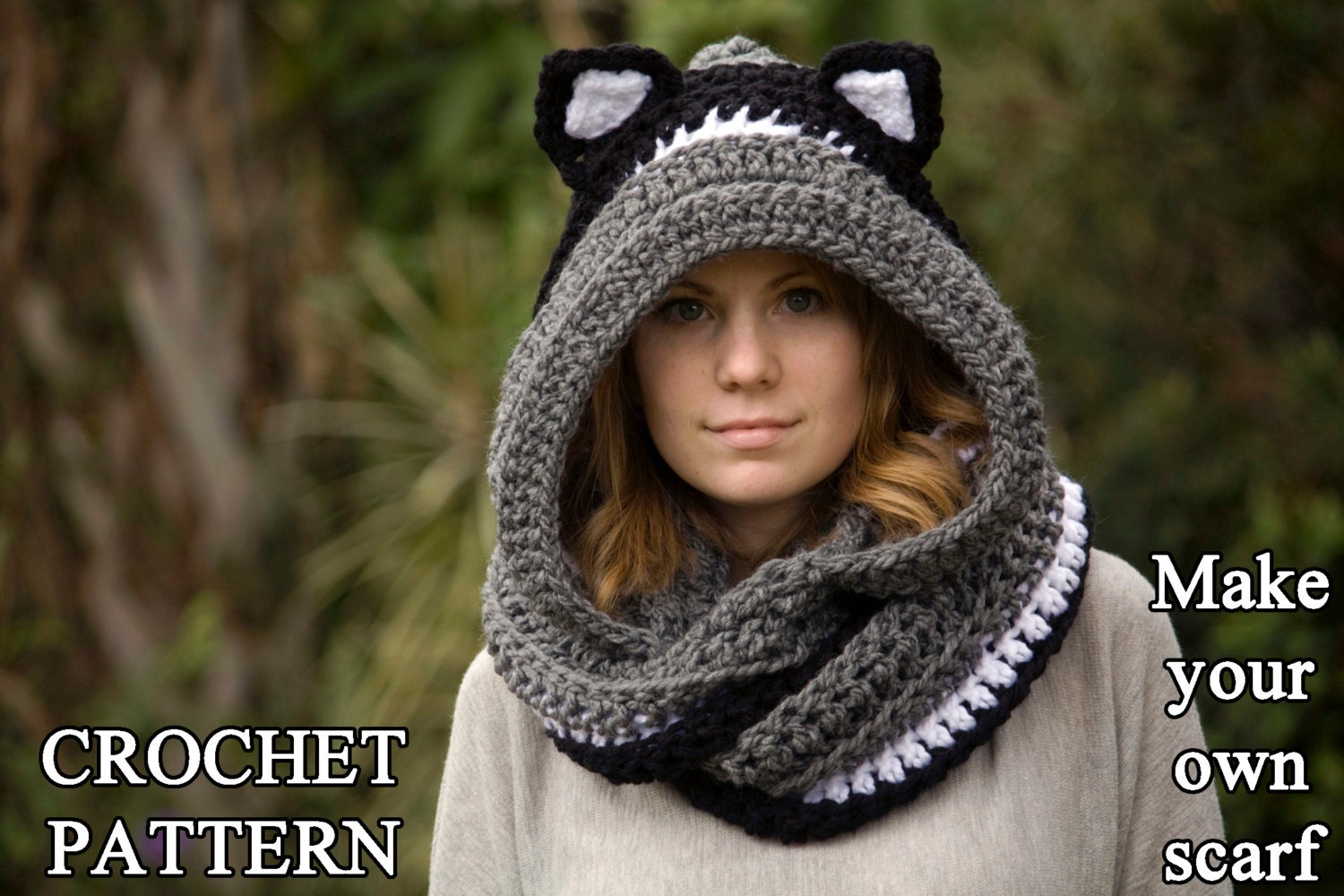 CROCHET PATTERN Cat Scarf Scoodie Hooded Scarf with Cat