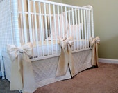 Crib Bows: neutral baby bedding, crib bedding, faux silk nursery bow, baby girl bedding, curtain tie back, Custom Made to Order