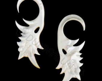6G Pair White Mother of Pearl Shell Pistol #1 Gauged Earring Plugs 6 gauge