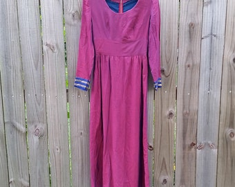 XS S Extra Small Vintage 60s 70s Iridescent Purple Long Sleeve Queen Princess Ethnic Maxi Boho Indie Hipster Hippie Mod Modette Dress