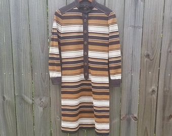 XS S Extra Small  Vintage Mod Modette Groovy 60s Stripes Retro Brown Colors Long Sleeve Mock Turtleneck Hipster Indie Mad Men Dress
