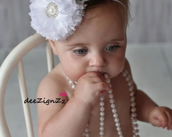 Hair Accessories-Baptism Headband-White-Chiffon -Flower Headband-Wedding-Flowers for Hair-Bridesmaid-Flower Girl-Infant-Baby-Christening