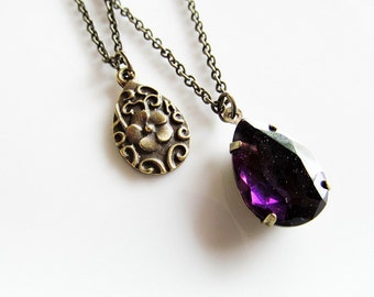 Purple Double Strand Necklace - Layered Bronze and Purple Gem Necklace - LAST ONE