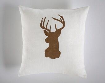 Buffalo pillow cover - Lodge decor - Deer Pillow - Gold Christmas - Holiday Decor - Gifts Under 25 winter pillow - deer cushion    0119