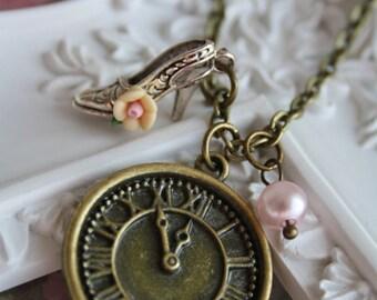 Cinderella necklace 5 mins before midnight vintage charm jewellery clock high heel pendant bronze retro cute accessory fairy tale princess