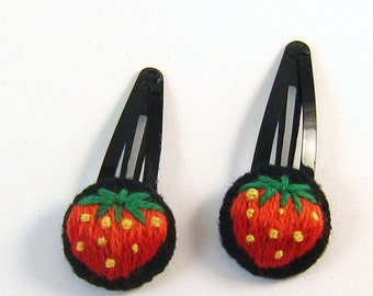 Two Hand Embroidered hair clips with yummy strawberries