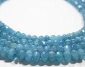 Light Aquamarine Blue Quartz Faceted Rondelle Beads 6mm
