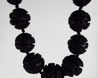 Black Lava Rock Carved Ball Beads Graduating Strand 8mm - 20mm