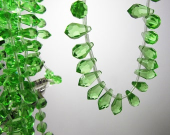Fancy Lime Green Quartz Faceted Icicle Teardrop Beads 13mm - 14mm