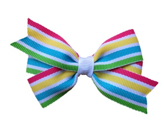 25% off SALE Adorable bright striped hair bow - striped bow, 3 inch bow, girls hair bows, girls bows, toddler bows, baby bows