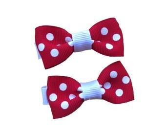 You pick color -  pair of small polka dot hair bows, baby bows, toddler bows, small bows, hair bows, baby hair clips, girls hair bows