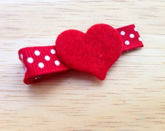 Small red & white heart hair bow - small Valentines hair bow
