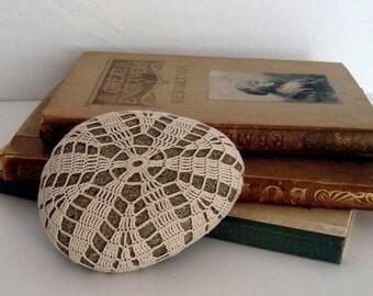Crocheted Lace Stone, Cream, Ecru, Beige, Beach Art, One of a Kind, Handmade, Tiny Stitches, Unique Gift