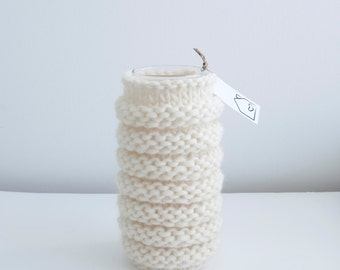 Hand knitted vase cozy, ecru