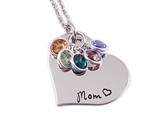 Personalized Mom Heart Birthstone Necklace - Engraved Jewlery - Mom Heart Necklace - Mom Jewelry - Mother's Day - Mother Necklace Gift